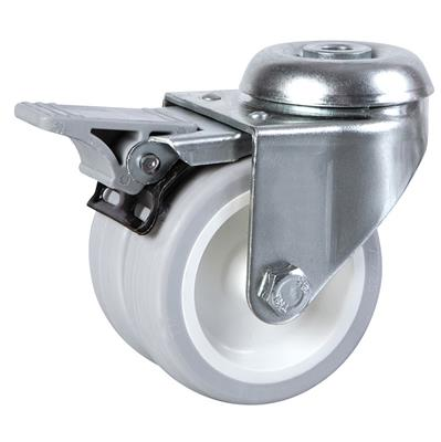 50mm Braked Swivel Bolt Hole Castor Twin Wheel