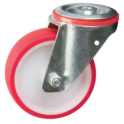 100mm Swivel Bolt Hole Castor Red Polyurethane
