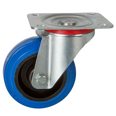 100mm Swivel Plate Castor Blue Elastic