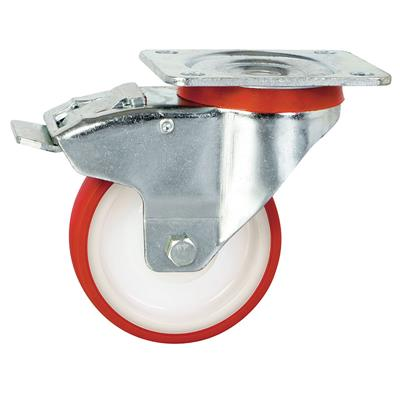 100mm Braked Swivel Plate Castor Red Polyurethane